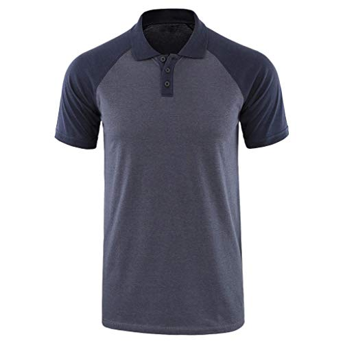 YKARITIANNA Fashion Men's Baggy Solid Short Sleeve Button Turn-Down Collar Henley T Shirts 2019 Summer Hot Sale ()