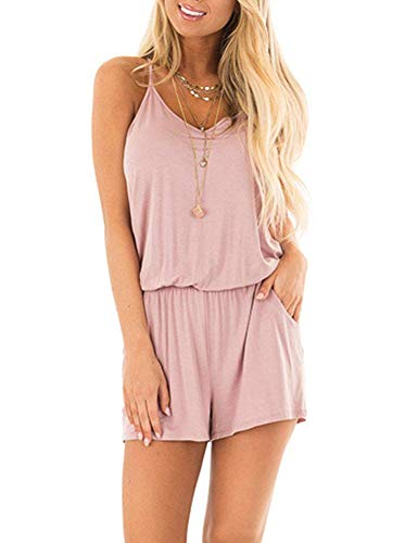 Recabee Women Summer Sleeveless Casual Rompers Spaghetti Strap Solid Jumpsuit with Pockets (X-Large, Pink)