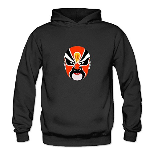 Mcczox Chinese drama mask logo fashion Women's Hoodie Sweatshirt Black ()