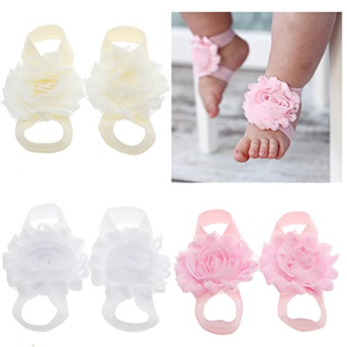 lebo Baby Barefoot Sandals Baby Shoes Baby Girl Summer Shoes Newborn (Pink White Sandals)