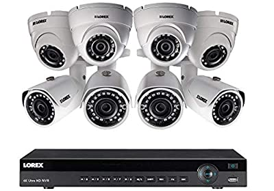 Lorex 16 Channel 4K NVR 8 IP Cameras Security System NR9163 3TB 2HDD, 4 4MP Dome and 4MP IP Bullet Cameras from Lorex Technlogy