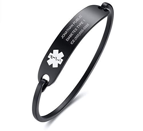 Free Custom Engraving Stainless Steel Catch Hook Oval Fit Medical Alert ID Bangle Bracelet, Black,65mm