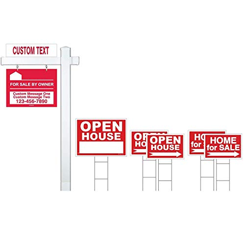 - Red Deluxe 7-Pack For Sale By Owner Sign Bundle with Real Estate Post & H-Stakes - Open House & Home For Sale With Directional Arrows - Personalized Rider Sign for Yard Post - Double-Sided Lawn Signs