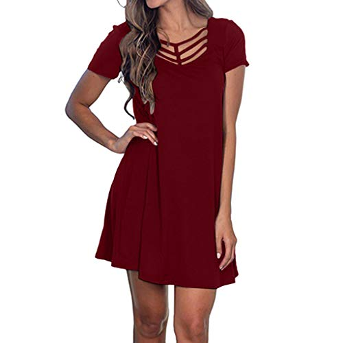 Tantisy ♣↭♣ Women's Sexy Hollow Out V-Neck Dress Short Sleeve Slim Swing Party Dress Ladies Solid Dress Multicolor - Flow Puma Cat
