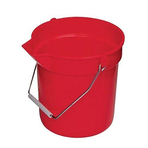 (Boss Cleaning Equipment B010001 Heavy Duty Plastic Utility Pail, Red, 10 Quart)