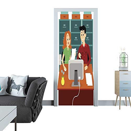 Anmaseven Glass Door Sticker Decals Man Guiding a Woman to Work at Office Clipart 3D Door Sticker 35x83(90x210 -