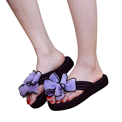 Elevin(TM)Women Summer Fashion Beach Bowknot Platform Flip Flops Sandals Slippers Shoes Purple