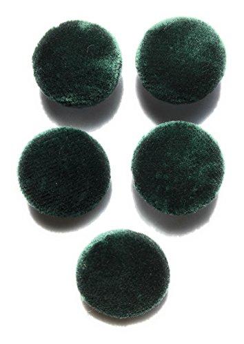 (5 Dark Green Velvet Buttons Set ~ Half Ball Style= 1