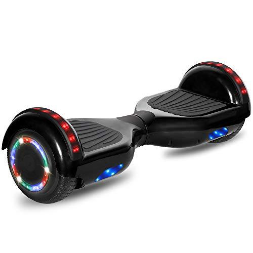 affordable cho Electric Hoverboard Smart Self Balancing Scooter Hover Board Built-in Speaker LED Wheels Side Lights for Kids- Safety Certified (Black)