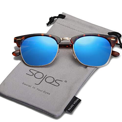 SojoS Gafas De Sol Hombres Mujeres Unisex Aviator Clásico Doble Puente SJ1051 SJ5018 SJ1067 (5018C08 Marco Carey Mate&Metal...