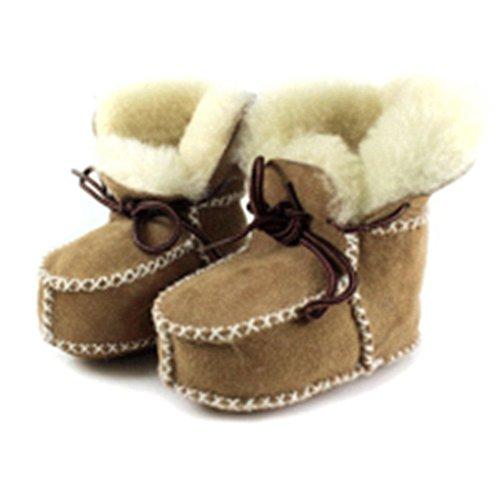 QHGstore Baby-Lammfell-Stiefel mit Lammfellfutter Suedel Babyschuhe / Kleinkind 6-18 Monate 15cm