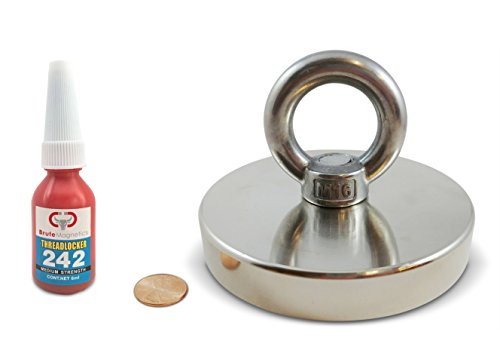1,200 LBS Pulling Force, Brute Magnetics Round Neodymium Magnet with Countersunk Hole and Eyebolt, 4.72