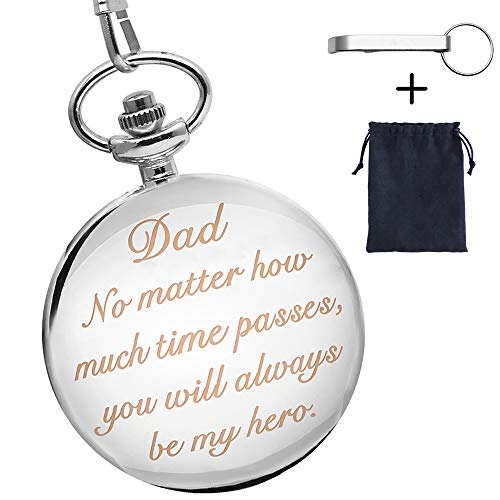 Gifts for Dad from Son, Fathers Day Gifts Engraved Dad Watch Dad Birthday Gifts from Kids - You Will Always be My Hero(Silver)