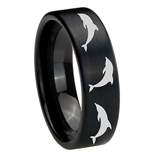 Tungsten Dolphins Ring, 8mm Pipe Cut Brushed Black Tungsten Mens Wedding Band, Mens Engagement - Dolphin Cut Ring