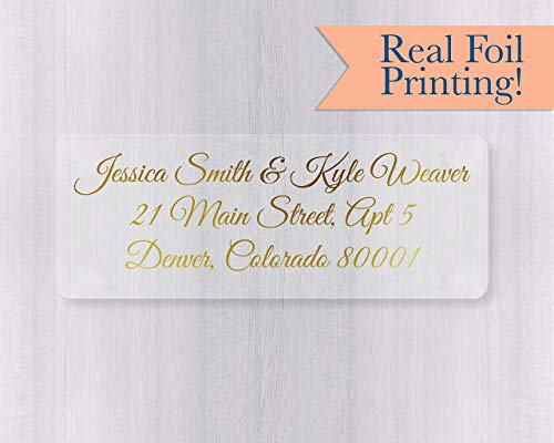 60ct - Gold or Color Foil Wedding Invitation Return Address Labels, Clear Transparent Return Address Stickers (#318-CF)