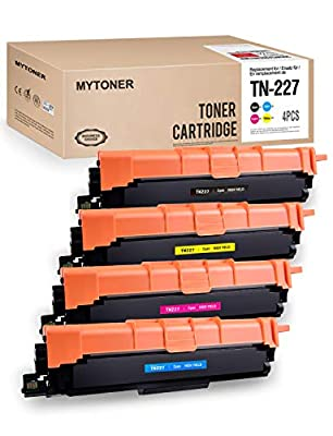 MYTONER Compatible Toner Cartridge Replacement for Brother TN227 TN-227 TN 227 TN227bk TN223 TN-223 Toner Printer Ink New CHIP (Black, Cyan, Magenta, Yellow, 4-Pack)