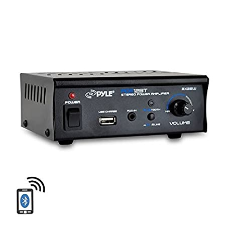 Pyle Bluetooth Stereo Amplifier - Mini Blue Series Audio Power Amplifier | Wireless Streaming | USB Charge Port | AUX (3.5mm) Jack | 2 x 25 Watt (PCA12BT) Sound Around