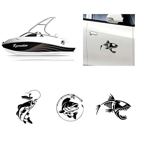 Homyu Car Stickers Set 3 Decals Set of Fishing on Bass Bone Fish for Fisherman Boat Yacht Car Truck Waterproof Sunlight-Proof