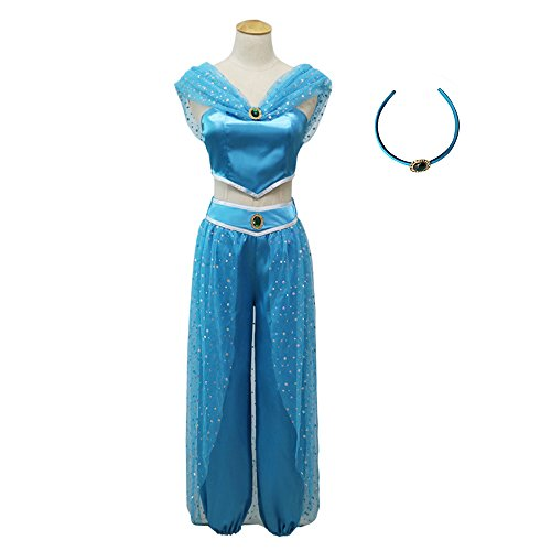 Princess Jasmine Costumes For Women (KINOMOTO Aladdin Jasmine Princess Dress Up Girls Adventure Outfit Women Cosplay Costume Skirt Set with Head Band (L))