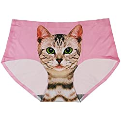 Lovexotic Women's Smooth Seamless Cat Printed Hipster Briefs Panties Underwear Pink