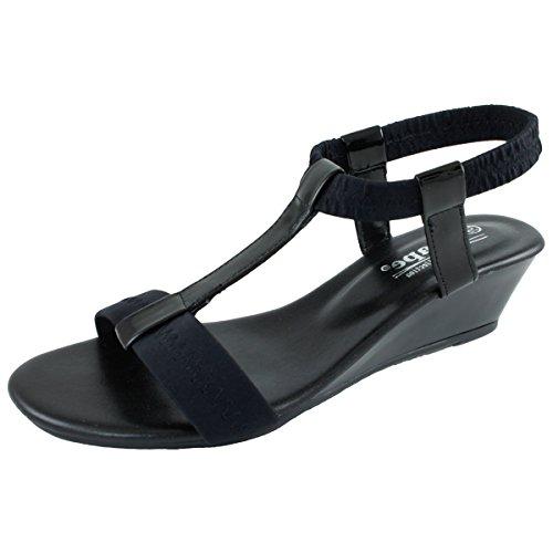 Agape Image-69 Sandale Compensée T-strap Noir