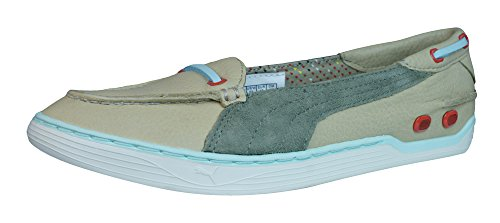 PUMA Decker Slip On Womens Leather Deck/Boat Shoes-Sand-9