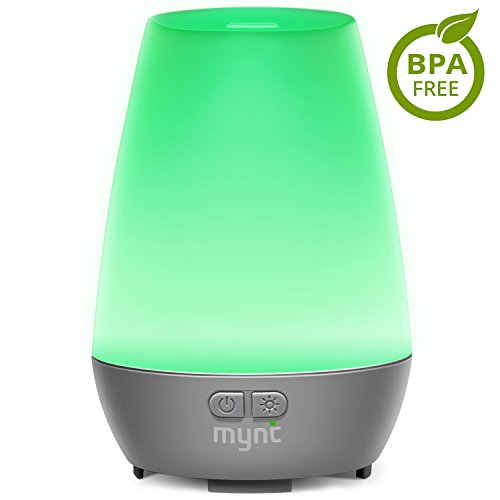 Mynt Essential Oil Diffuser Cool Mist 100ml Humidifier 10+ Hours with 7 Colors LED Lights Waterless BPA Free Auto...