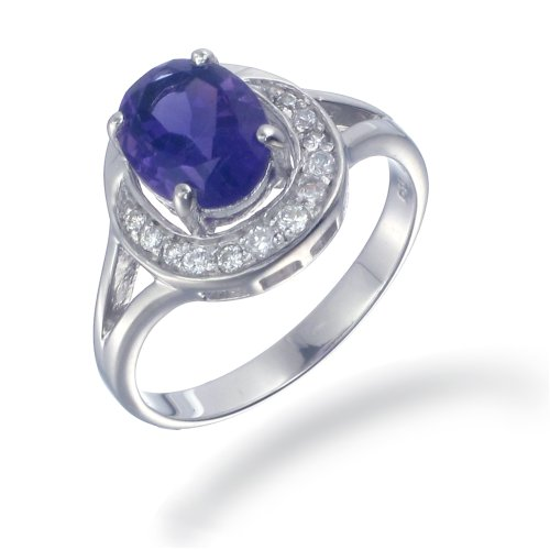 1.70 CT Amethyst Ring .925 Sterling Silver