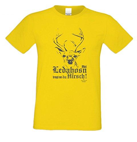T-Shirt mit Motiv - Mei Ledahosn trogt no da Hirsch - Lustiges Outfit zu Oktoberfest + Wiesn + Volksfest in Gelb 1