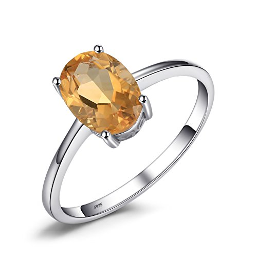 JewelryPalace 1.1ct Natural Gemstones Birthstone Citrine Solitaire Engagement Ring For Women For Girls 925 Sterling Silver Oval Cut Size ()