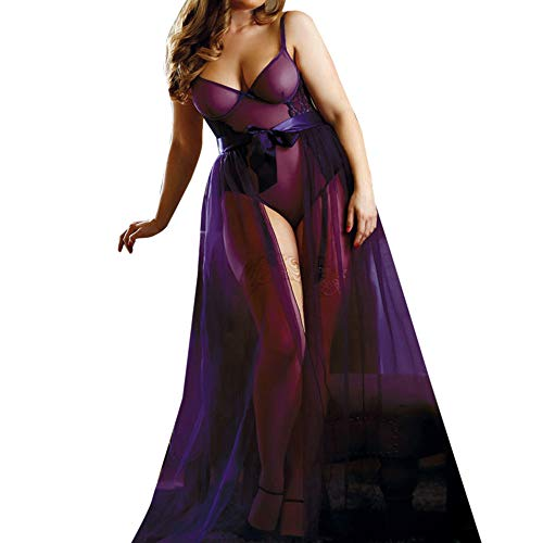V-neck Bodystocking Fishnet - Women's Plus Size Nightgown Sexy Lace V Neck Mesh Teddy Bodysuit Bodystocking Lingerie Split Long Dress(Purple, XXL)