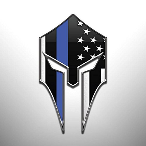 (JMM Industries Thin Blue Line Vinyl Decal Sticker Firefighter Law Enforcement Military Support Spartan Helmet 2 Pack 4.75-Inches by 2.75-Inches Premium Quality UV Resistant Laminate PDS899)
