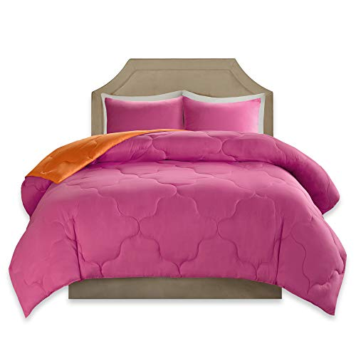 Comfort Spaces – Vixie reversible Goose al option Comforter miniature Set - 3 Piece – Pink and Orange – Stitched Geometrical Pattern – Full/Queen Size, incorporates 1 Comforter, 2 Shams