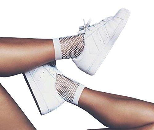 Women's Lace Mesh Sheer Socks Ankle High Fishnet Socks (white)