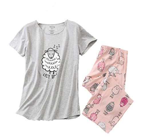 Women's Pajama Sets Capri Pants with Short Tops Cotton Sleepwear Ladies Sleep Sets SY296-Lazy Sheep-L (Pajamas Pants Shirt)
