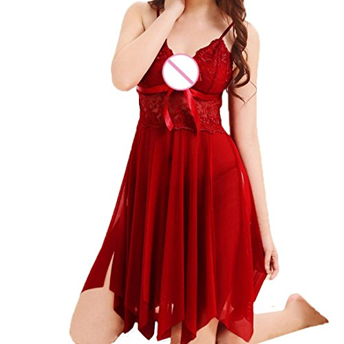 Hot!Clearence!Plus Size!Women Lingerie Cute Sexy Bow Uniforms Temptation Sexy Underwer Nightdress 2018 (3XL, Red)