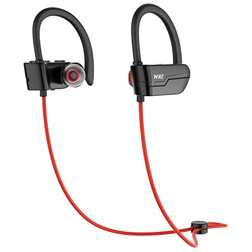 WRZ S3 Bluetooth Wireless Headphones Running Earbuds Waterproof Sports Earphones with Microphone 8-9 Hours Playtime Workout Gym Cordless Headsets for Cell Phone (Red)