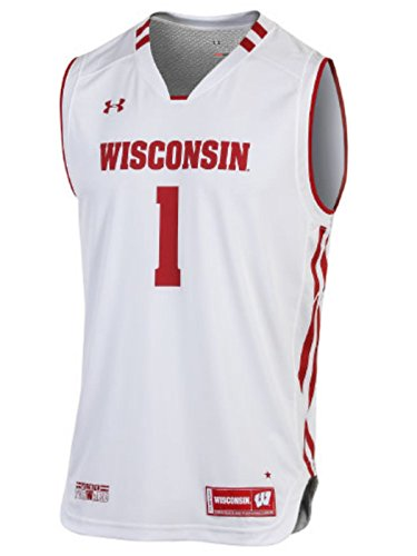 Wisconsin Badgers Under Armour NCAA Basketball Replica #1 White Jersey (XL)