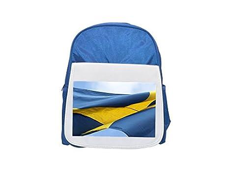 Mochila azul con diseño de bandera sueca y estampado de niños, mochilas bonitas, mochilas