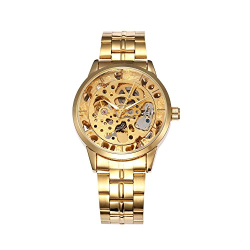 Forsining Guy's Gold Skeleton Watch All Metal Stainless S...