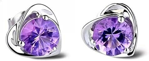 Siarola 18k White Gold Plated Austrian Crystal Heart Shape Stud Earrings Jewelry for Women Lady Girls E222-1