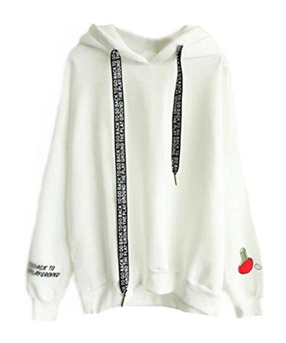 Pullover Kapuzenpullover Tumblr Donna Giacca Stampato Maglia Casuale Cappuccio Hoodie Outwear Forti Invernali Felpe Con Elegante Cappotto AILIENT White Taglie Sport fqTnS88