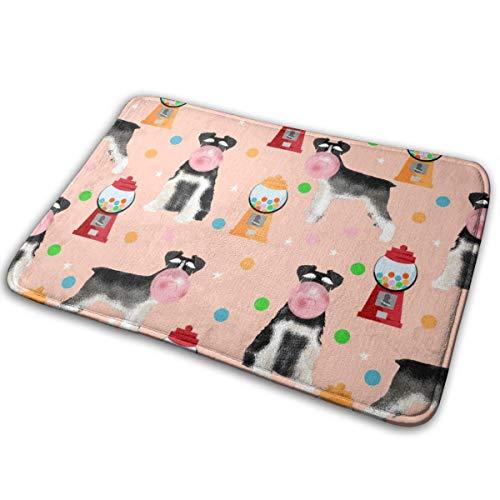 (shirt home Schnauzer Black and White Gumballs Dog Breed Pink_18850 Doormat Entrance Mat Floor Mat Rug Indoor/Outdoor/Front Door/Bathroom Mats Rubber Non Slip 23.6