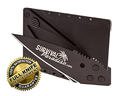 Credit Card Knife from SurvivalParadise this Folding Survival Tool will fit easily in your wallet and be easy to carry has a Safety Lock to prevent accidental opening and a Beautiful Black Blade, Get it today always have it with you when you need it! from