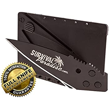 Credit Card Knife from SurvivalParadise this Folding Survival Tool will fit easily in your wallet and be easy to carry has a Safety Lock to prevent accidental opening and a Beautiful Black Blade, Get it today always have it with you when you need it!