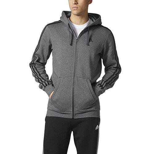 adidas Men's Athletics Essential Cotton 3 Stripe Full Zip Hoody, Dark Grey Heather/Black, ()