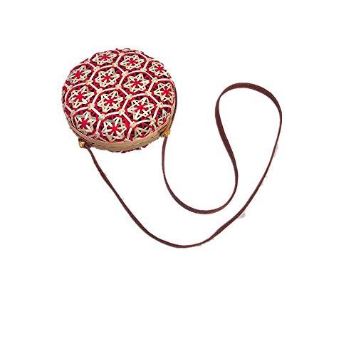 (Outique Crossbody Circle Handwoven Bali Round Retro Rattan Straw Beach Multicolor Fashion Bag for Women Girls)