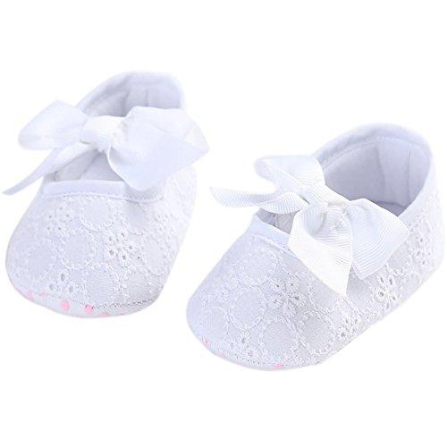 etrack-online bebé niñas princesa lazo suave única prewalker Zapatillas White Pink Talla:12-18months blanco