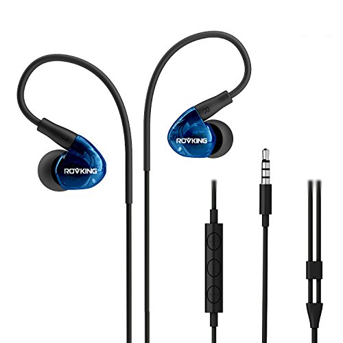 ROVKING Earbuds Headphones Over Ear Wired Sweatproof with Microphone, In Ear Stereo Bass Sport Earphones for Running Jogging Gym Workout for iPhone Android iPod Samsung, Blue