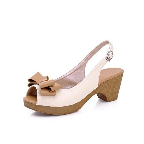 AllhqFashion Women's Peep Toe Kitten Heels Soft Material Assorted Color Buckle Sandals White